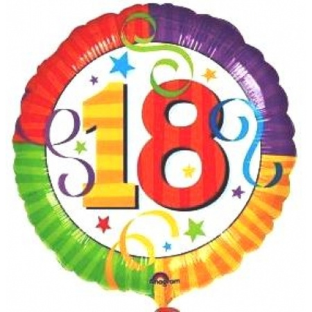18ter Geburtstag Folienballon 45cm Partyklar De Ihr Fasching