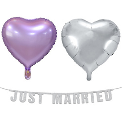 Just Married Girlande & 2 Folienballons lavendel/silber