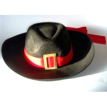 Musketier Hut Schwarz Mit Rotem Band Partyklar De Ihr Fasching